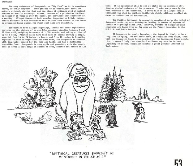 Washington Environmental Atlas 1975 Sasquatch entry text