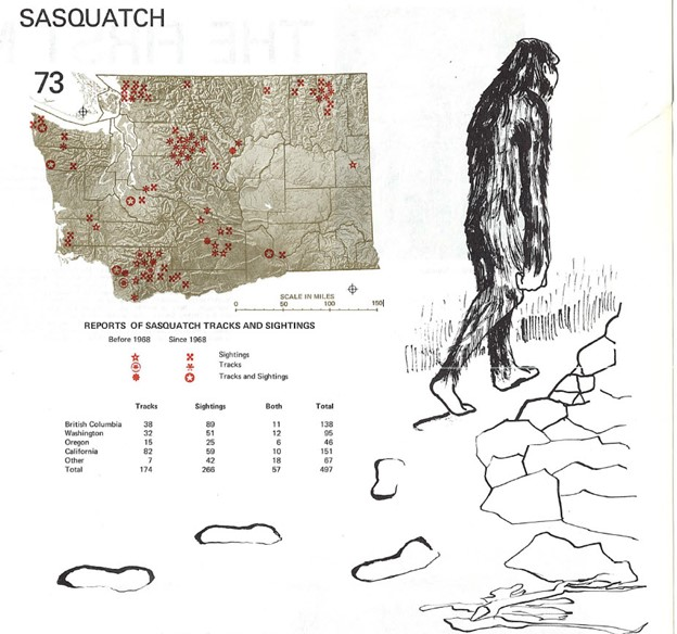 Washington Environmental Atlas 1975 Sasquatch entry sightings chart